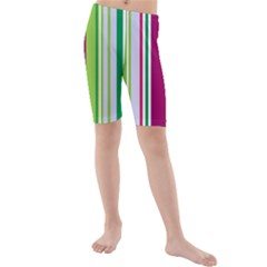 Beautiful Multi Colored Bright Stripes Pattern Wallpaper Background Kids  Mid Length Swim Shorts
