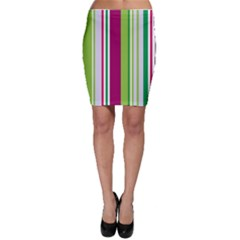 Beautiful Multi Colored Bright Stripes Pattern Wallpaper Background Bodycon Skirt