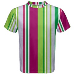 Beautiful Multi Colored Bright Stripes Pattern Wallpaper Background Men s Cotton Tee