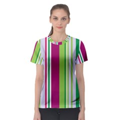 Beautiful Multi Colored Bright Stripes Pattern Wallpaper Background Women s Sport Mesh Tee