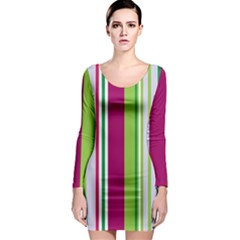 Beautiful Multi Colored Bright Stripes Pattern Wallpaper Background Long Sleeve Bodycon Dress