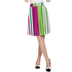 Beautiful Multi Colored Bright Stripes Pattern Wallpaper Background A Line Skirt