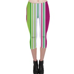 Beautiful Multi Colored Bright Stripes Pattern Wallpaper Background Capri Leggings