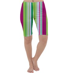Beautiful Multi Colored Bright Stripes Pattern Wallpaper Background Cropped Leggings