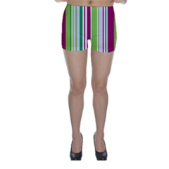 Beautiful Multi Colored Bright Stripes Pattern Wallpaper Background Skinny Shorts