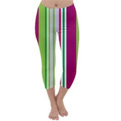 Beautiful Multi Colored Bright Stripes Pattern Wallpaper Background Capri Winter Leggings