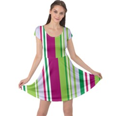 Beautiful Multi Colored Bright Stripes Pattern Wallpaper Background Cap Sleeve Dresses