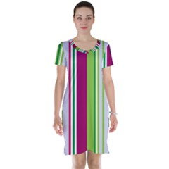Beautiful Multi Colored Bright Stripes Pattern Wallpaper Background Short Sleeve Nightdress