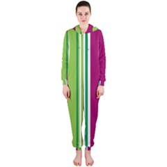Beautiful Multi Colored Bright Stripes Pattern Wallpaper Background Hooded Jumpsuit (ladies)