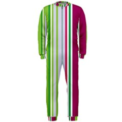 Beautiful Multi Colored Bright Stripes Pattern Wallpaper Background OnePiece Jumpsuit (Men)