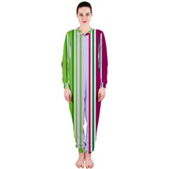 Beautiful Multi Colored Bright Stripes Pattern Wallpaper Background Onepiece Jumpsuit (ladies)