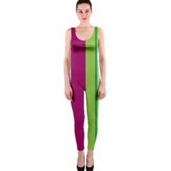 Beautiful Multi Colored Bright Stripes Pattern Wallpaper Background OnePiece Catsuit