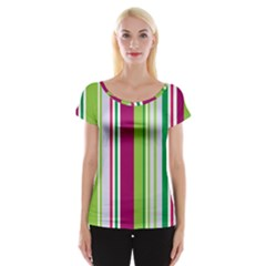 Beautiful Multi Colored Bright Stripes Pattern Wallpaper Background Women s Cap Sleeve Top