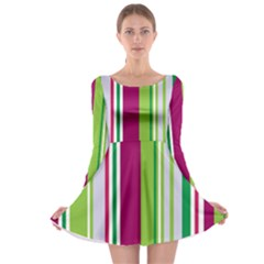 Beautiful Multi Colored Bright Stripes Pattern Wallpaper Background Long Sleeve Skater Dress