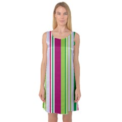 Beautiful Multi Colored Bright Stripes Pattern Wallpaper Background Sleeveless Satin Nightdress