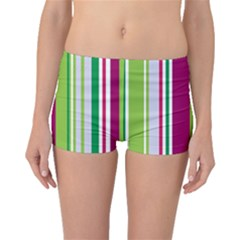 Beautiful Multi Colored Bright Stripes Pattern Wallpaper Background Boyleg Bikini Bottoms