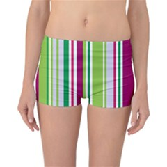 Beautiful Multi Colored Bright Stripes Pattern Wallpaper Background Reversible Bikini Bottoms