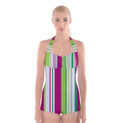 Beautiful Multi Colored Bright Stripes Pattern Wallpaper Background Boyleg Halter Swimsuit