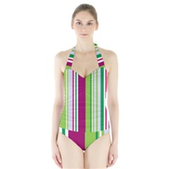 Beautiful Multi Colored Bright Stripes Pattern Wallpaper Background Halter Swimsuit