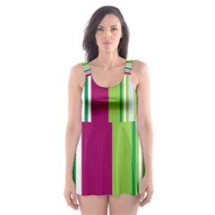 Beautiful Multi Colored Bright Stripes Pattern Wallpaper Background Skater Dress Swimsuit