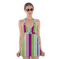 Beautiful Multi Colored Bright Stripes Pattern Wallpaper Background Halter Swimsuit Dress