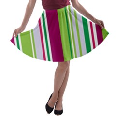 Beautiful Multi Colored Bright Stripes Pattern Wallpaper Background A-line Skater Skirt