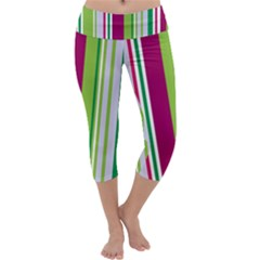 Beautiful Multi Colored Bright Stripes Pattern Wallpaper Background Capri Yoga Leggings