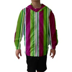 Beautiful Multi Colored Bright Stripes Pattern Wallpaper Background Hooded Wind Breaker (kids)