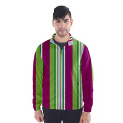 Beautiful Multi Colored Bright Stripes Pattern Wallpaper Background Wind Breaker (men)