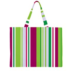 Beautiful Multi Colored Bright Stripes Pattern Wallpaper Background Zipper Large Tote Bag