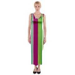 Beautiful Multi Colored Bright Stripes Pattern Wallpaper Background Fitted Maxi Dress