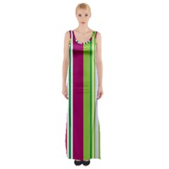 Beautiful Multi Colored Bright Stripes Pattern Wallpaper Background Maxi Thigh Split Dress