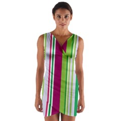 Beautiful Multi Colored Bright Stripes Pattern Wallpaper Background Wrap Front Bodycon Dress