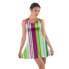 Beautiful Multi Colored Bright Stripes Pattern Wallpaper Background Cotton Racerback Dress