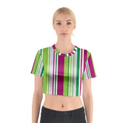 Beautiful Multi Colored Bright Stripes Pattern Wallpaper Background Cotton Crop Top