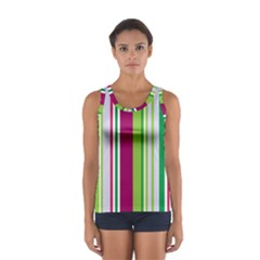 Beautiful Multi Colored Bright Stripes Pattern Wallpaper Background Women s Sport Tank Top