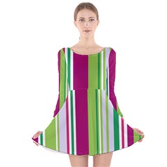 Beautiful Multi Colored Bright Stripes Pattern Wallpaper Background Long Sleeve Velvet Skater Dress