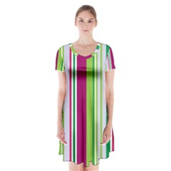Beautiful Multi Colored Bright Stripes Pattern Wallpaper Background Short Sleeve V Neck Flare Dress