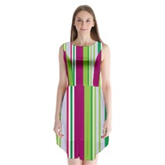 Beautiful Multi Colored Bright Stripes Pattern Wallpaper Background Sleeveless Chiffon Dress