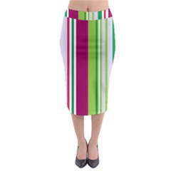 Beautiful Multi Colored Bright Stripes Pattern Wallpaper Background Midi Pencil Skirt