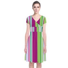 Beautiful Multi Colored Bright Stripes Pattern Wallpaper Background Short Sleeve Front Wrap Dress