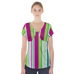 Beautiful Multi Colored Bright Stripes Pattern Wallpaper Background Short Sleeve Front Detail Top