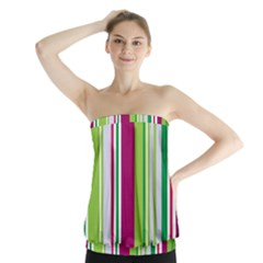 Beautiful Multi Colored Bright Stripes Pattern Wallpaper Background Strapless Top