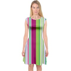 Beautiful Multi Colored Bright Stripes Pattern Wallpaper Background Capsleeve Midi Dress