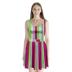 Beautiful Multi Colored Bright Stripes Pattern Wallpaper Background Split Back Mini Dress