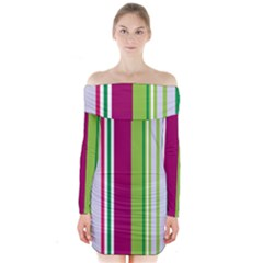 Beautiful Multi Colored Bright Stripes Pattern Wallpaper Background Long Sleeve Off Shoulder Dress