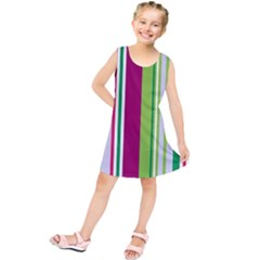 Beautiful Multi Colored Bright Stripes Pattern Wallpaper Background Kids  Tunic Dress