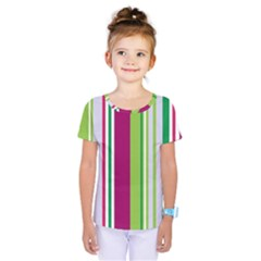 Beautiful Multi Colored Bright Stripes Pattern Wallpaper Background Kids  One Piece Tee