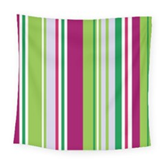 Beautiful Multi Colored Bright Stripes Pattern Wallpaper Background Square Tapestry (large)