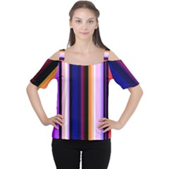 Fun Striped Background Design Pattern Women s Cutout Shoulder Tee